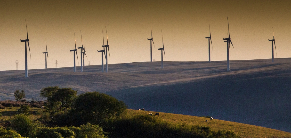 Wind turbines on land