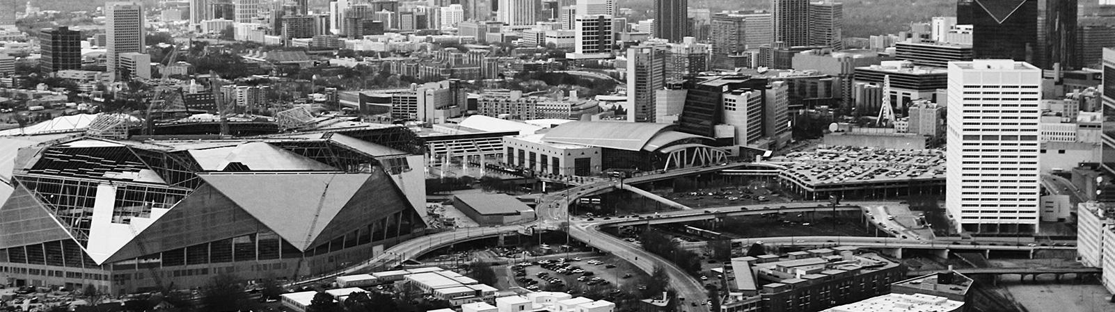 Image of Atlanta city showing Mercedes Benz stadium in construction