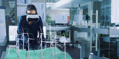 Scientist using 3D goggles