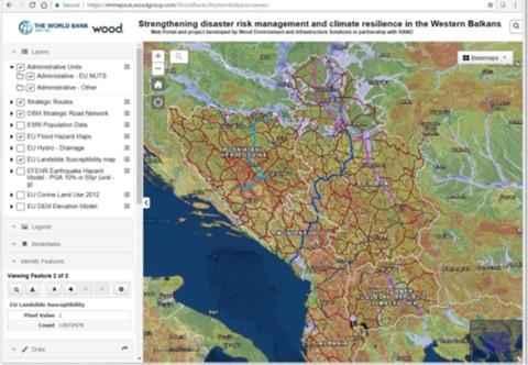 Screenshot from GIS web portal tool